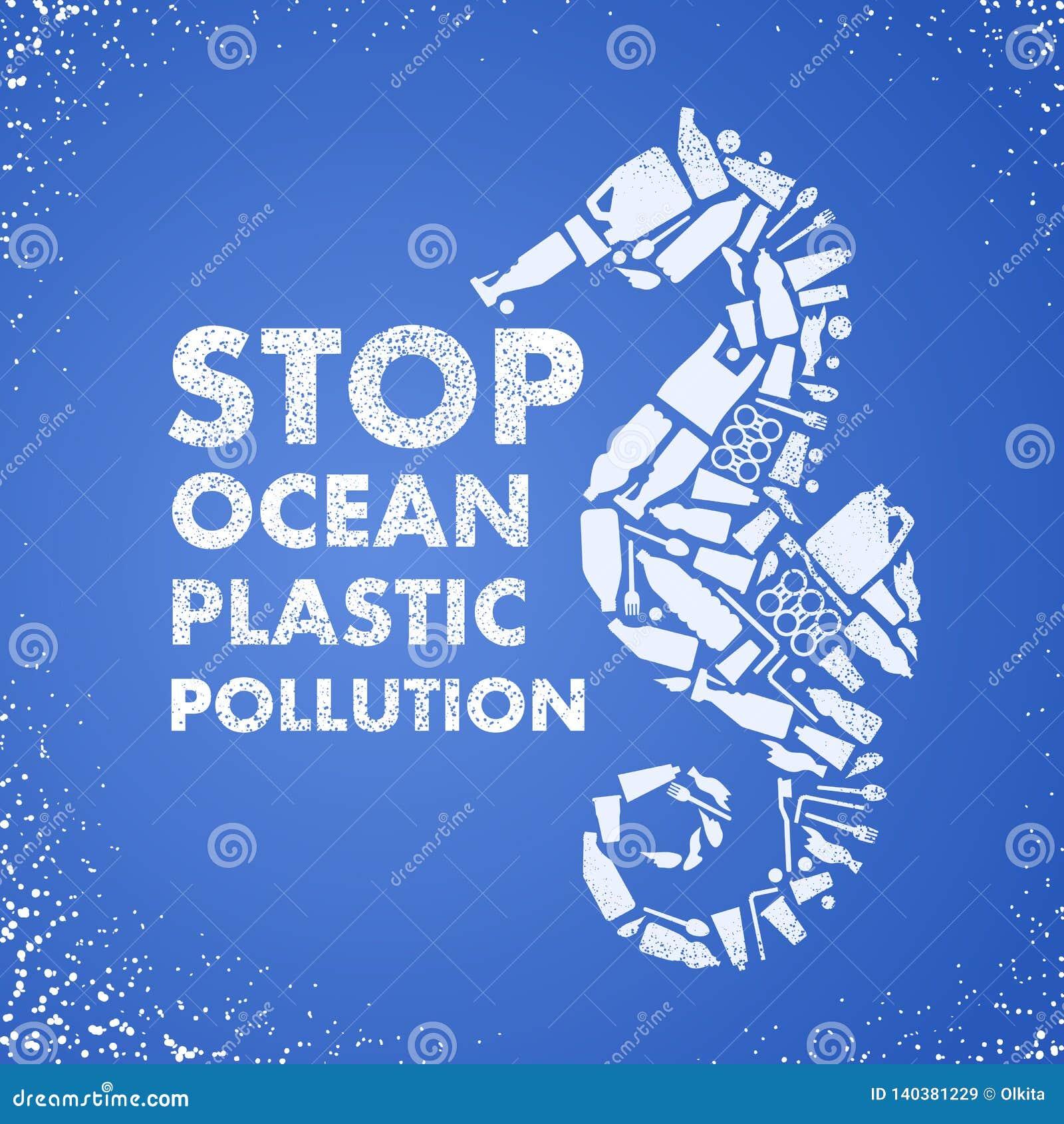 Poluição plástica do oceano da parada Mar-cavalo ecológico do cartaz composto do saco plástico branco do desperdício, garrafa no