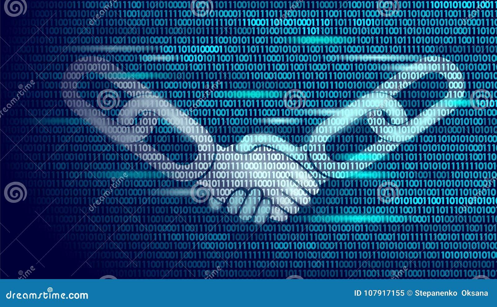 Poly affärsidé för handskakning för Blockchain teknologiöverenskommelse lågt Design för nummer för binär kod för symbolsteckensym