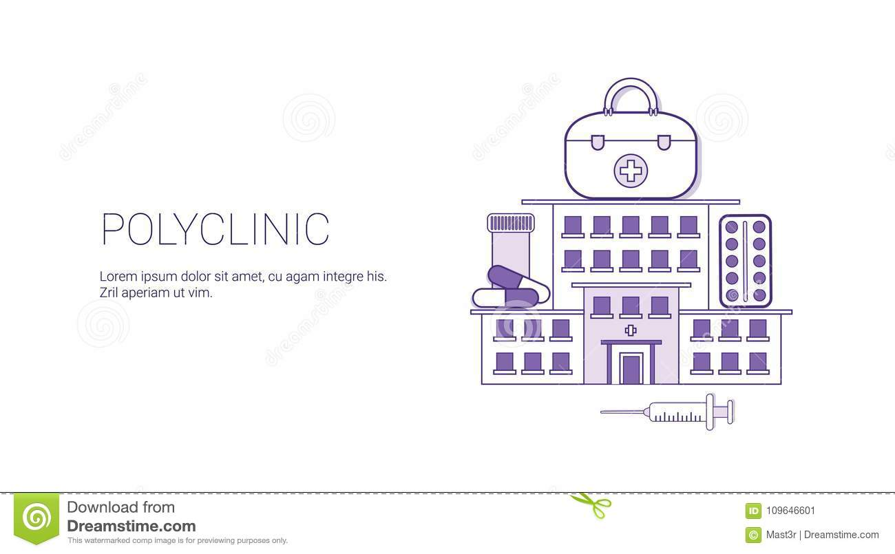 polyclinic hospital medicine concept web banner template with copy