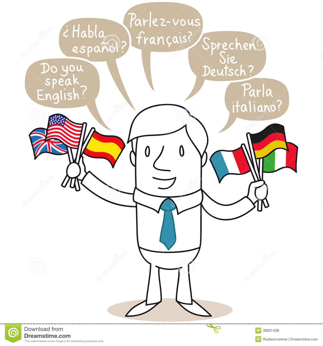 Polyglot Man Speaking In Different Languages Stock Vector - How many people speak each language