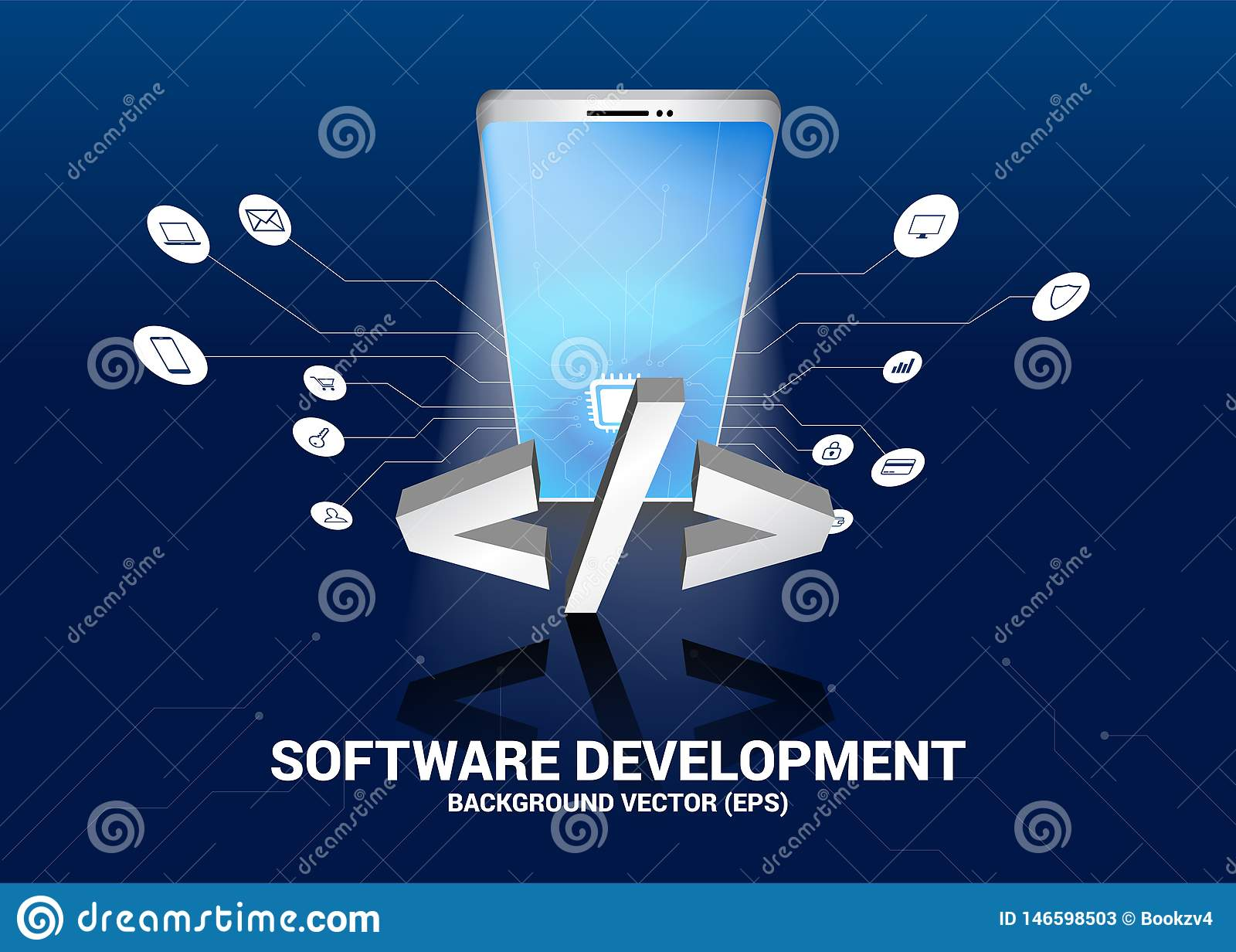 Software Development Programming Tag Icon And Mobile Phone