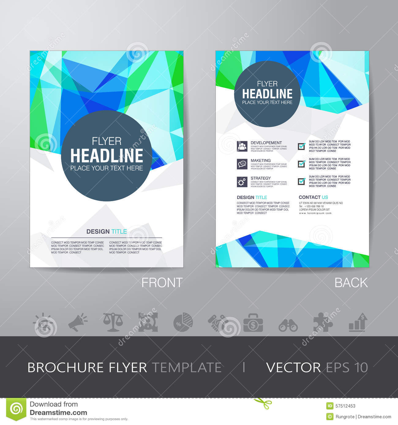 typography brochure design - polygon brochure flyer design layout template in a4 size
