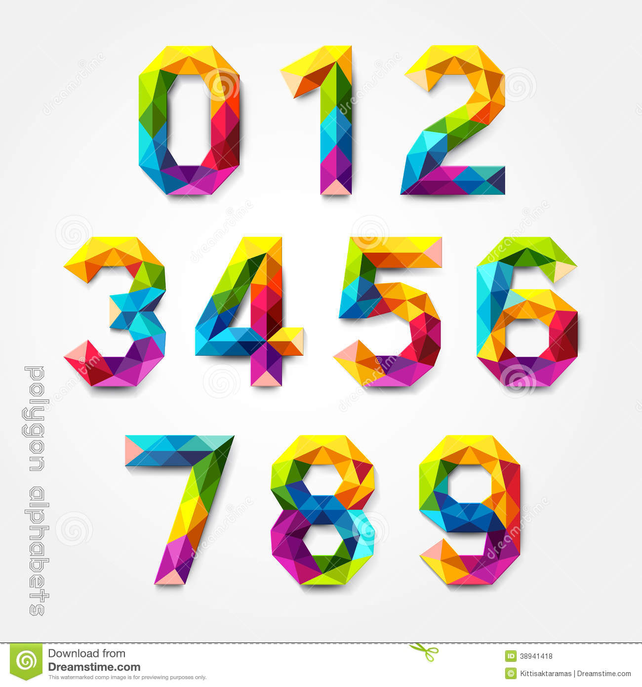 Download Polygon Number Alphabet Colorful Font Style Stock Vector