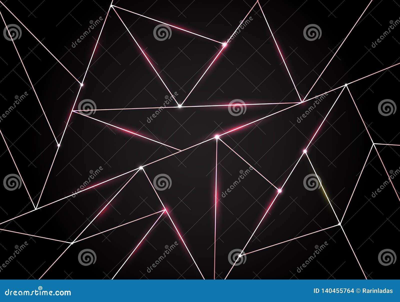 Polygonal σχέδιο πολυτέλειας και ρόδινες χρυσές γραμμές τριγώνων με το φωτισμό στο σκοτεινό υπόβαθρο Γεωμετρικές χαμηλές μορφές κ