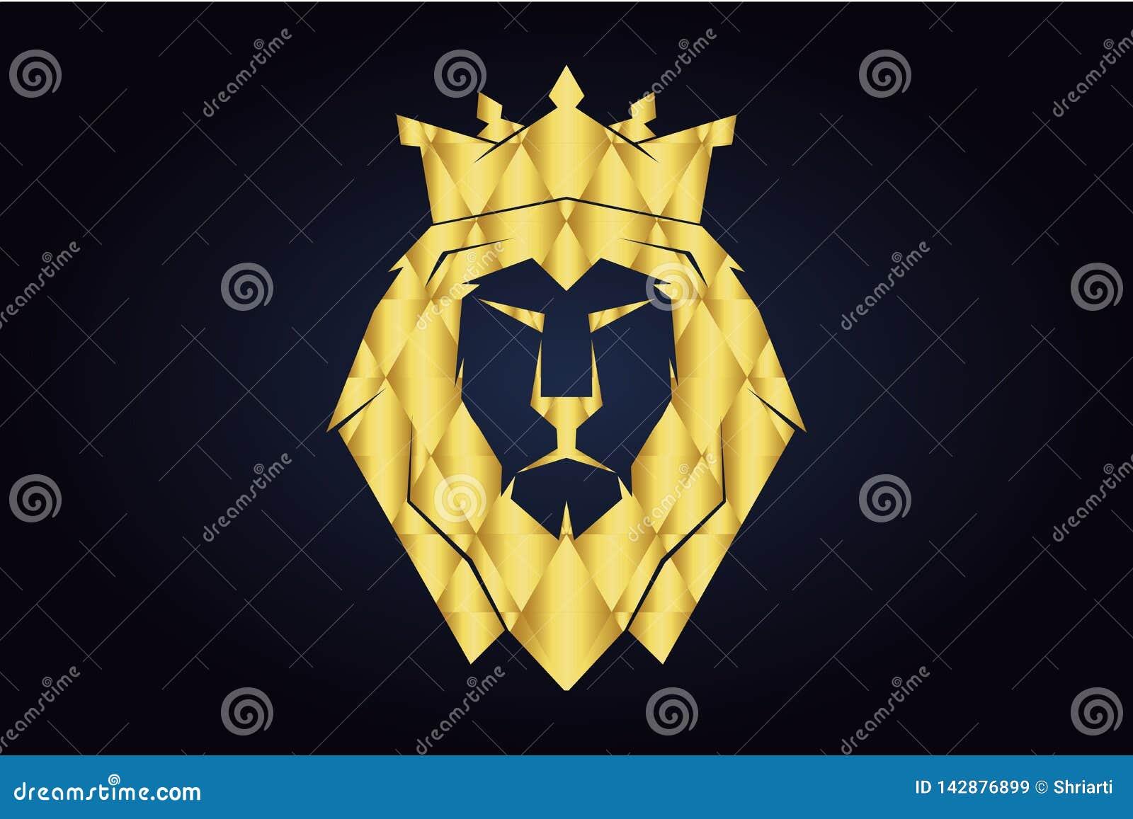 Polygonal κεφάλι λιονταριού με τη χρυσή κορώνα Λιοντάρι βασιλιάδων