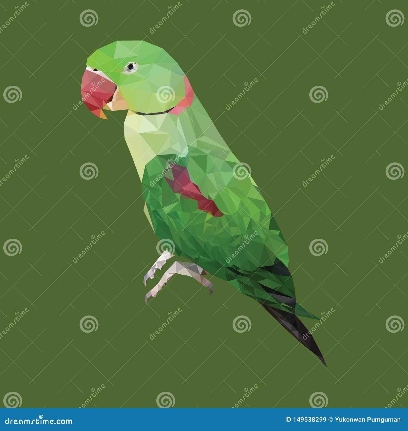 Polygonal πράσινος παπαγάλος, ζώο τριγώνων πολυγώνων, διανυσματική απεικόνιση πουλιών