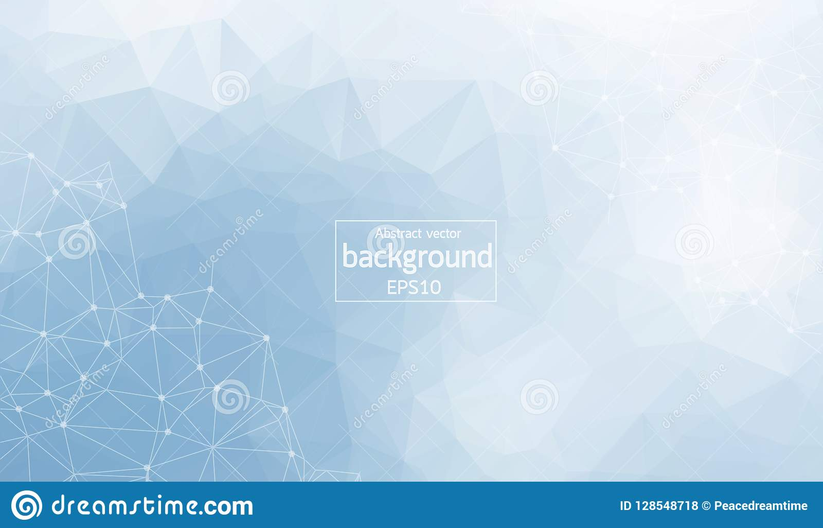 Polygonal Abstract background. Low poly, molecule and communication with connected dots and lines. Vector Illustration.