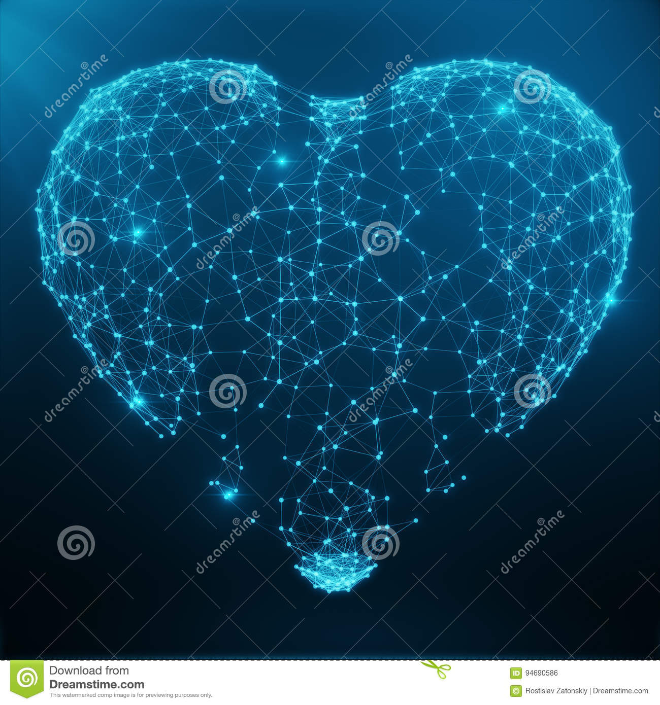 Polygonal Abstract Heart Concept Consisting of Blue Dots and Lines. Digital Illustration. Polygonal Structure, Triangle