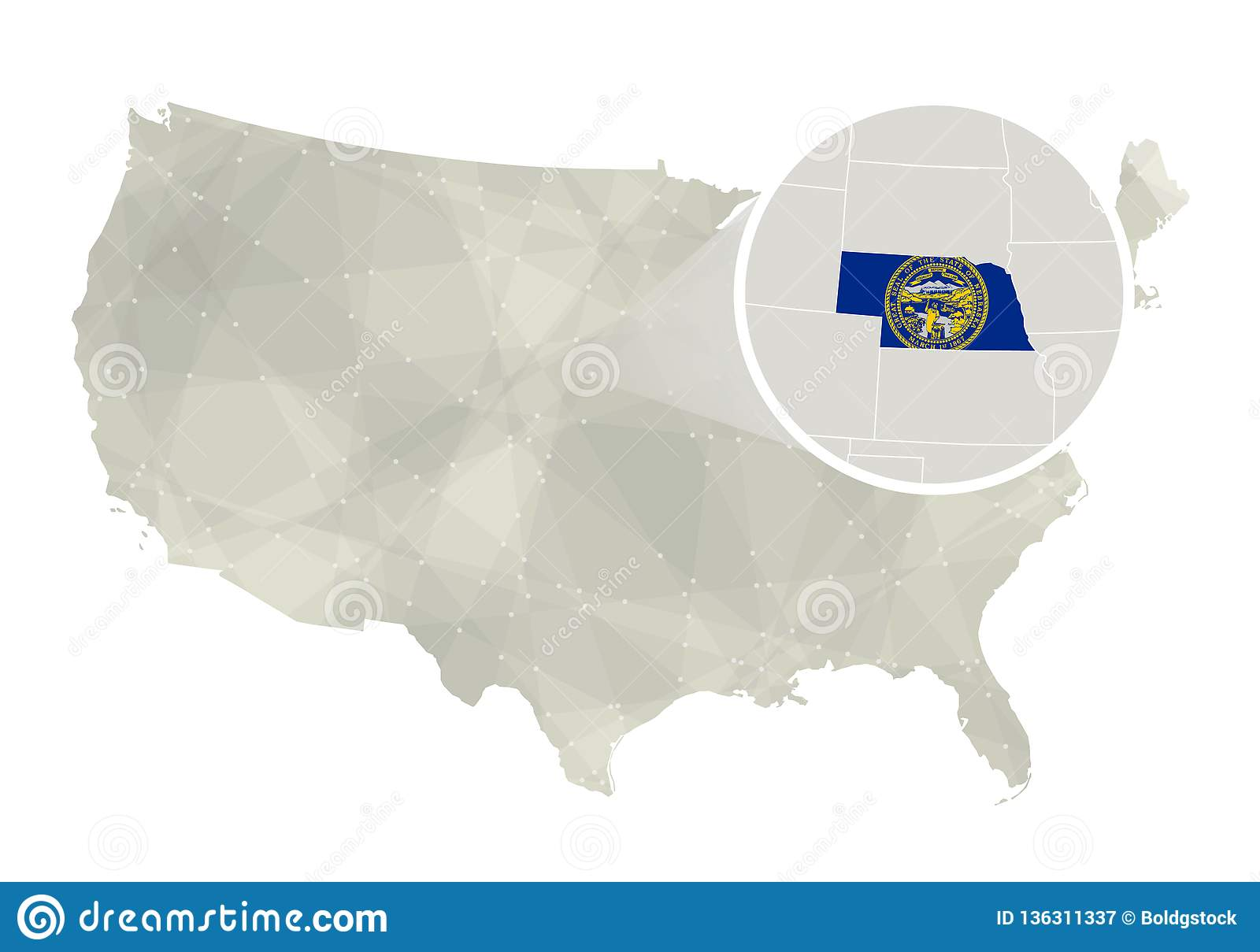 Polygonal Abstract Usa Map With Magnified Nebraska State Stock