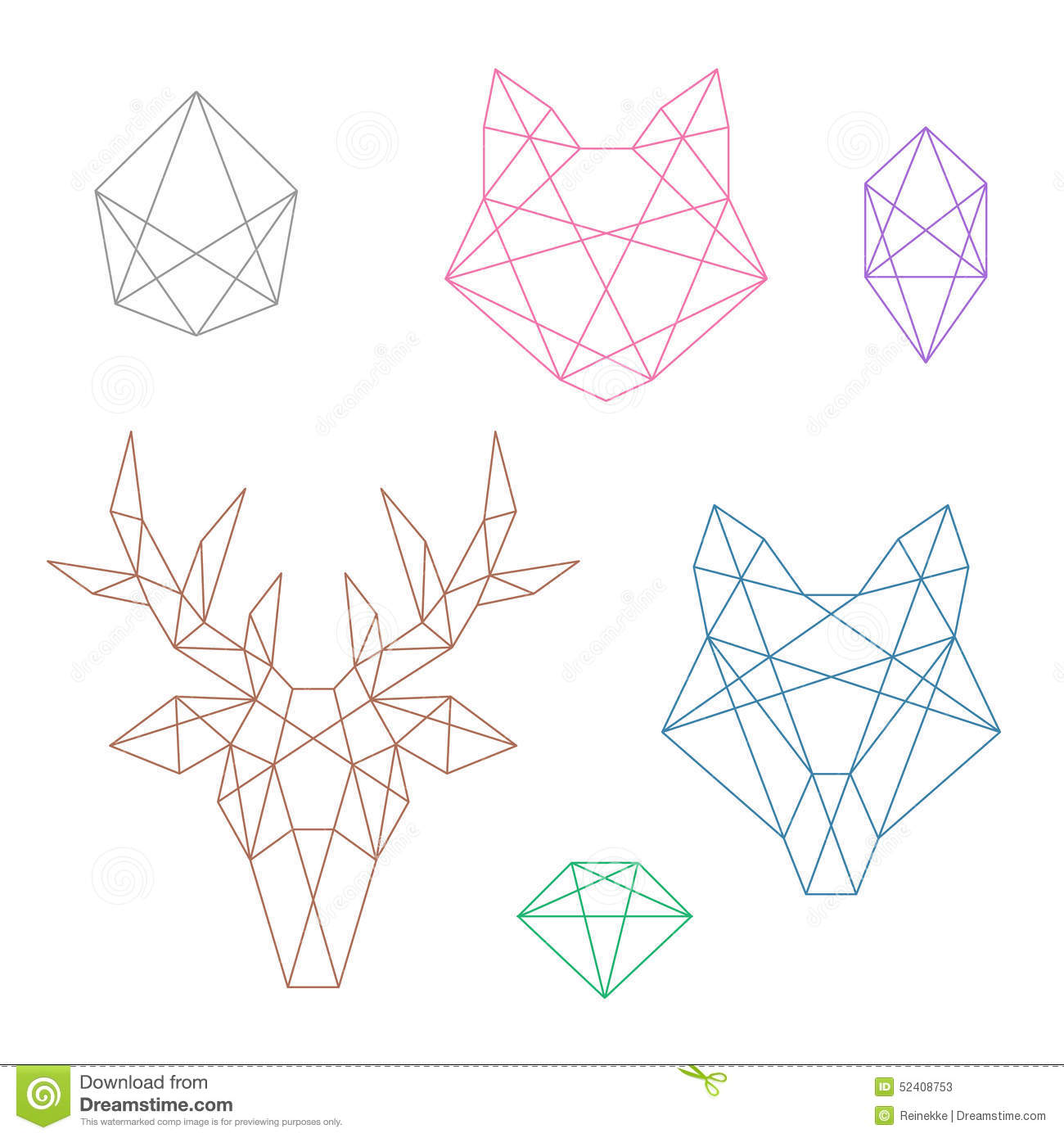 Polygonal Animals Stock Vector Illustration Of Head