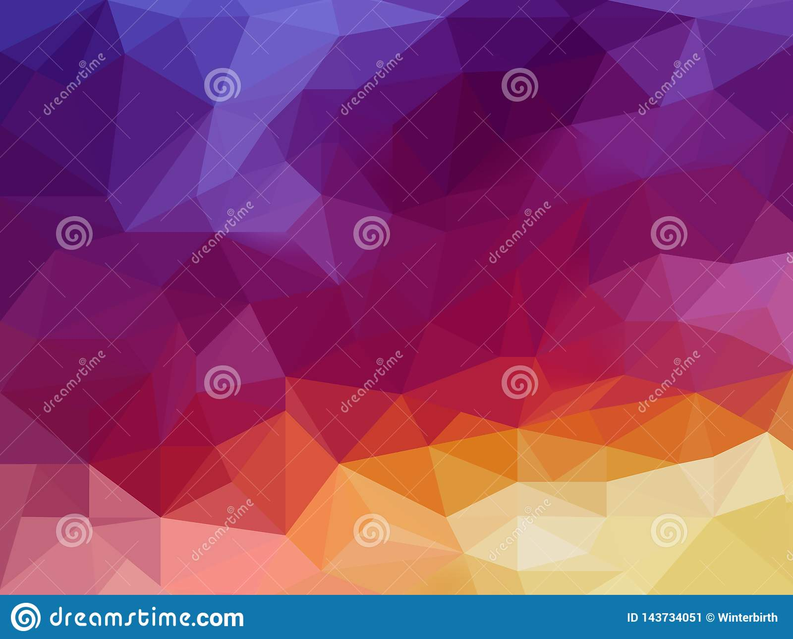 Low poly background in warm violet and orange colors