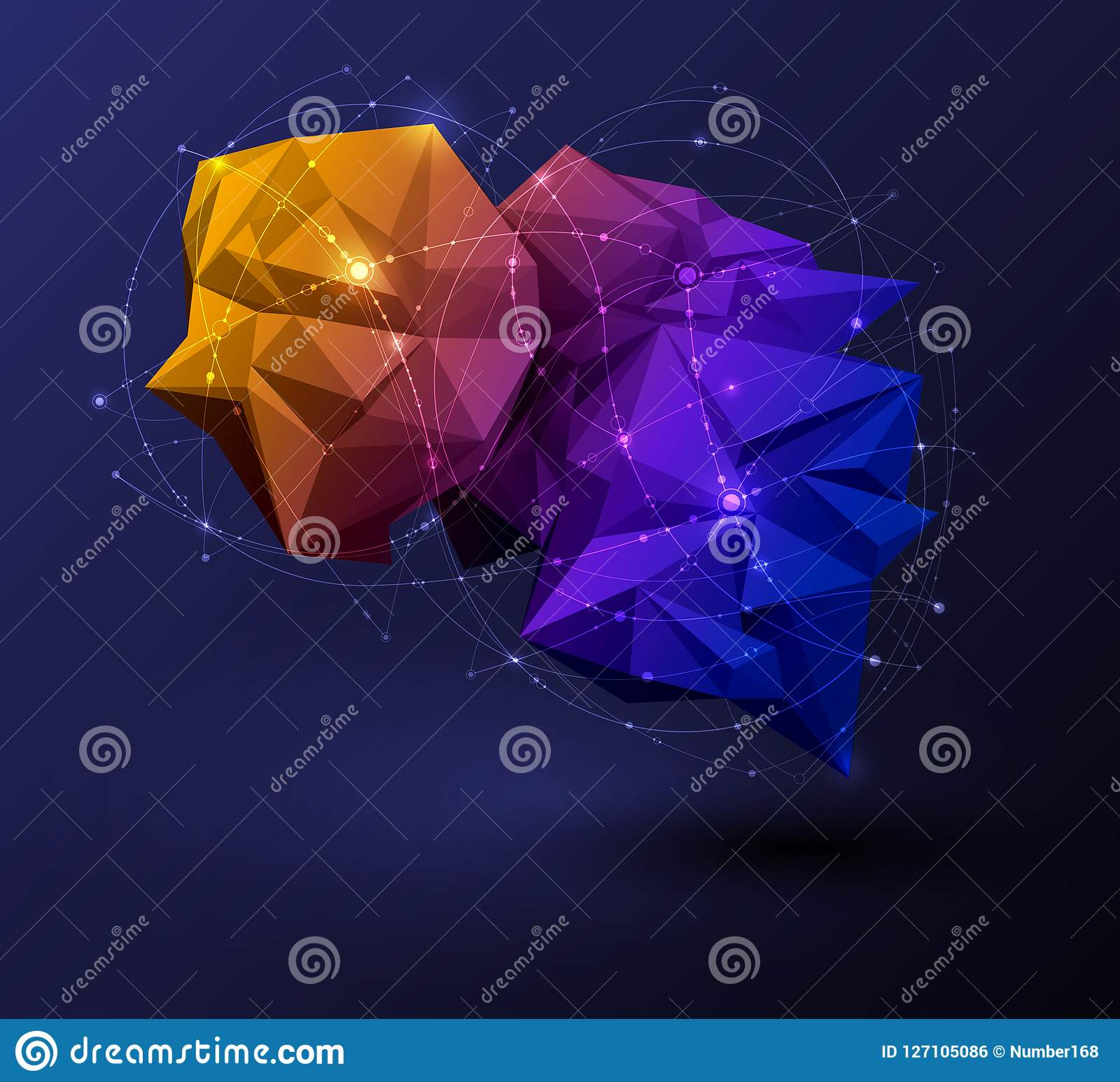 Polygonal with blue purple, yellow on dark blue background. Abstract science, futuristic, network connection concept
