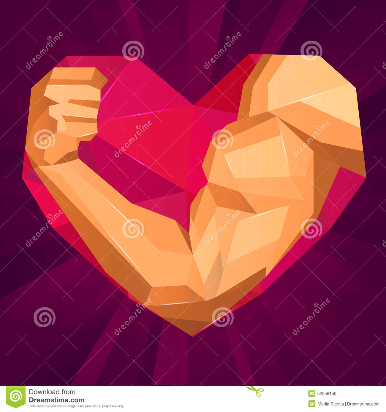 Polygonal Bodybuilders Hand With Biceps In Heart Stock