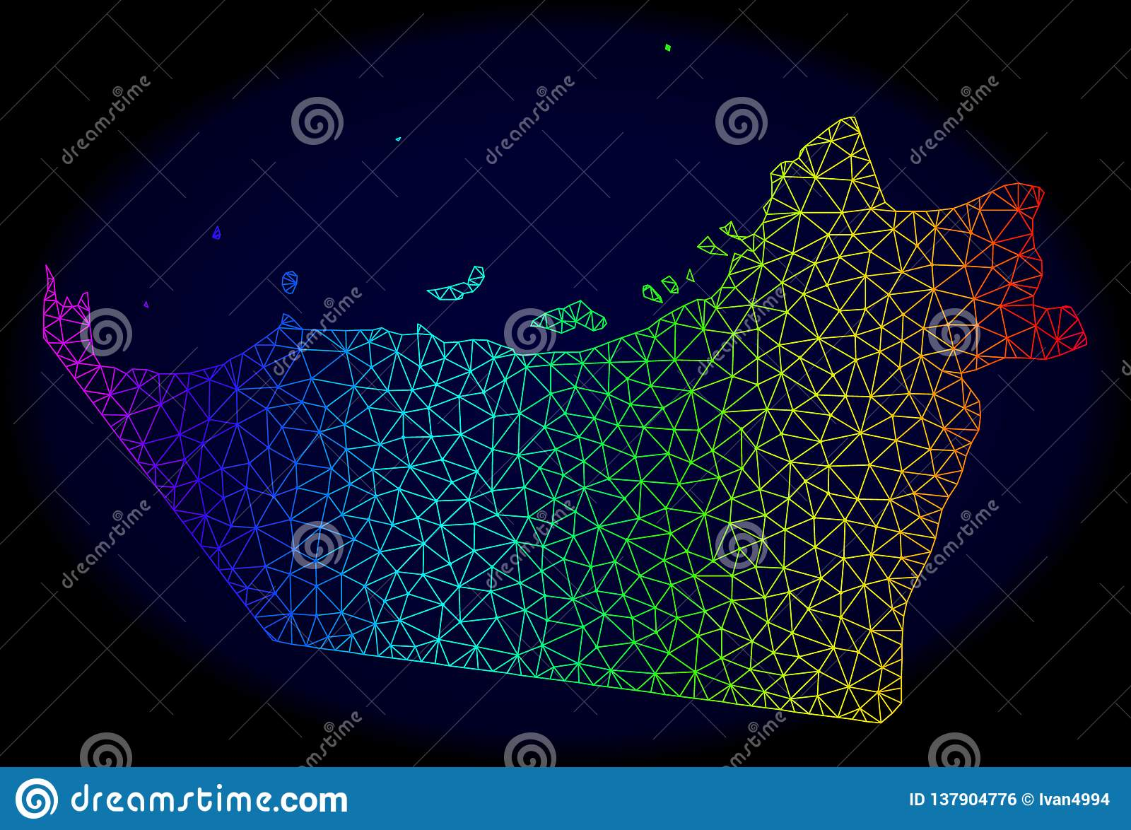 Polygonal Carcass Spectrum Mesh Vector Map Of Abu Dhabi Emirate ...