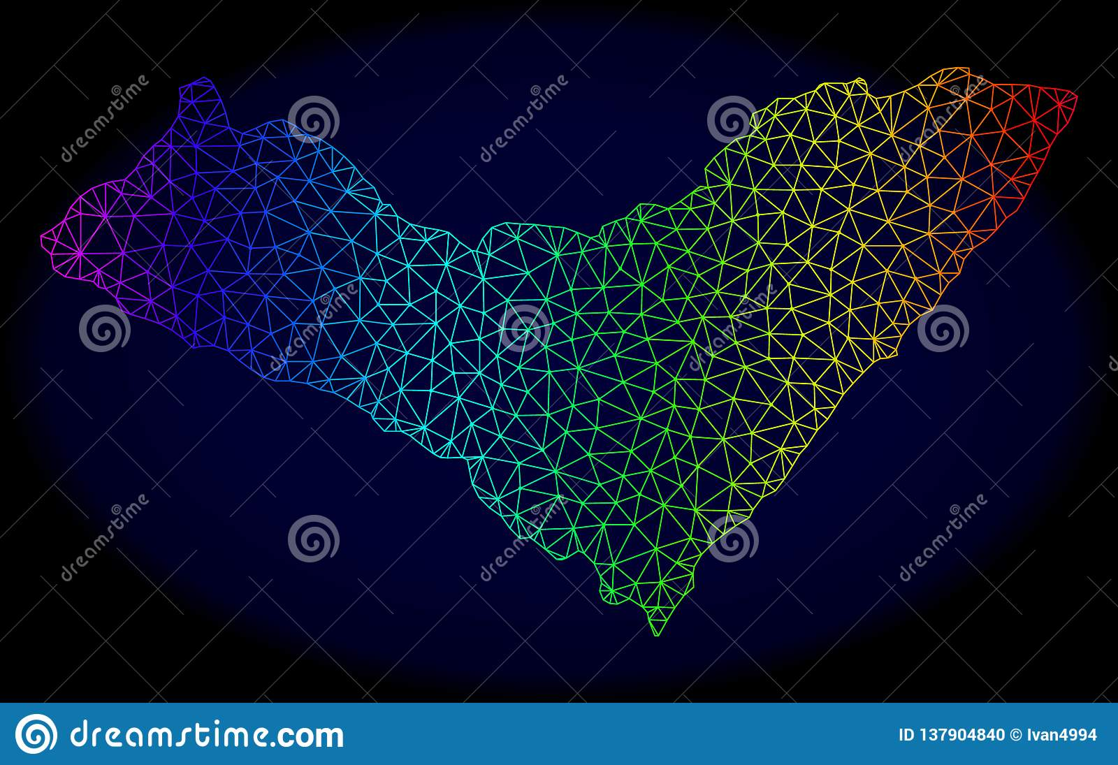 Polygonal 2D regnbåge Mesh Vector Map av det Alagoas tillståndet