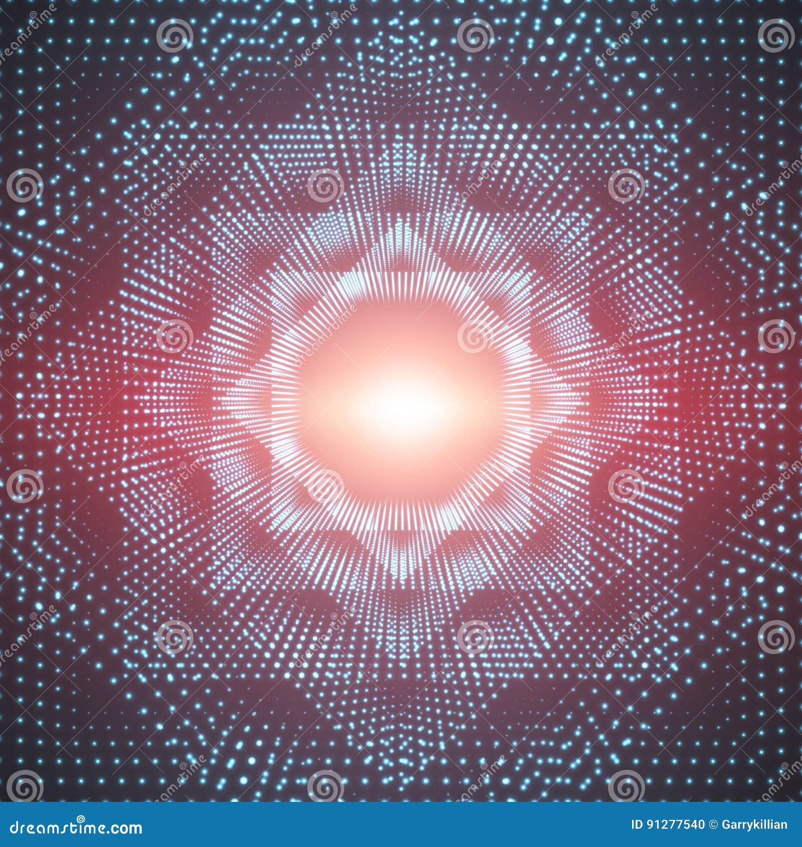 Polygonal för vektor blossar den oändliga eller fyrkantiga tunnelen av att skina på röd bakgrund Glödande sektorer för punktformt