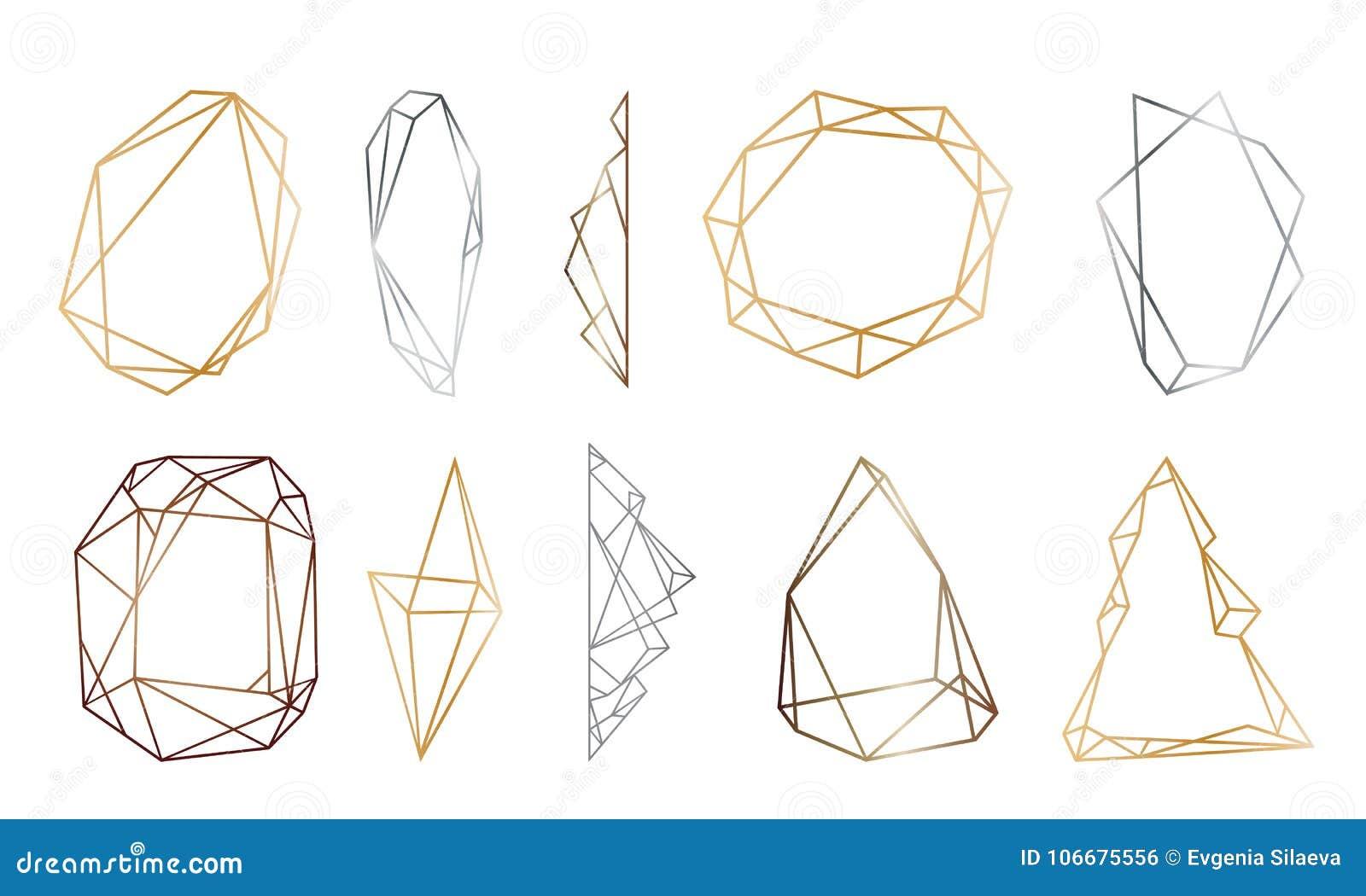 Polygonal frames set gold silver black glitter triangles polygonal frames set gold silver black glitter triangles geometric shapes diamond shape jeuxipadfo Images