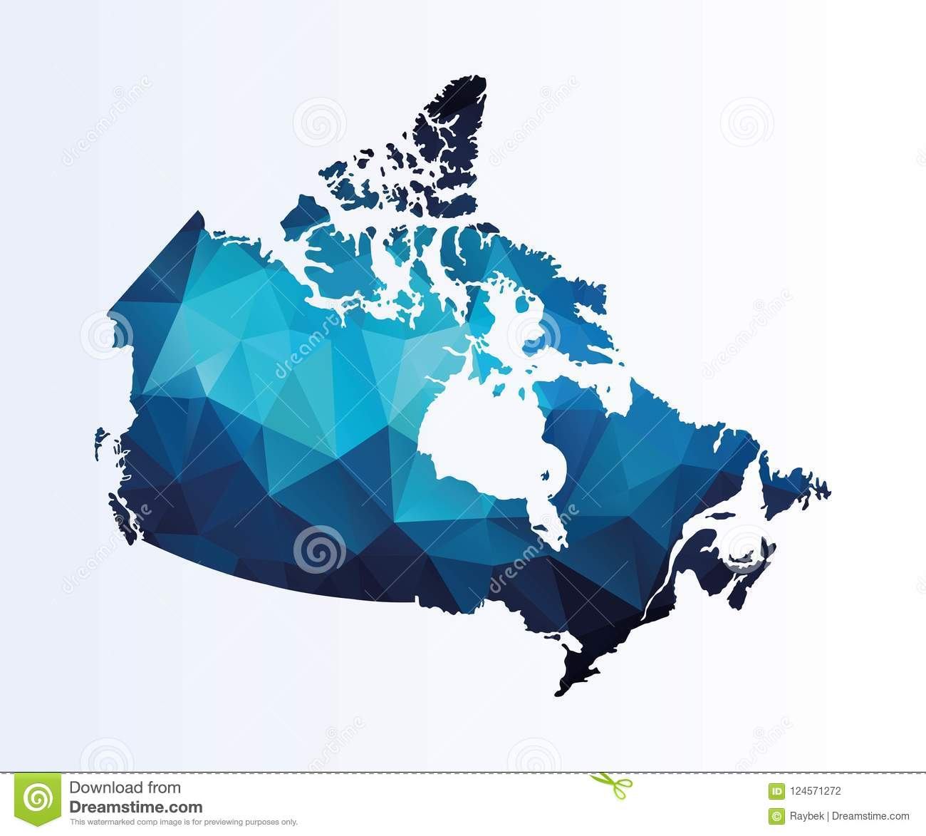 Colored Map Of Canada.Polygonal Map Of Canada Stock Illustration Illustration Of Vector