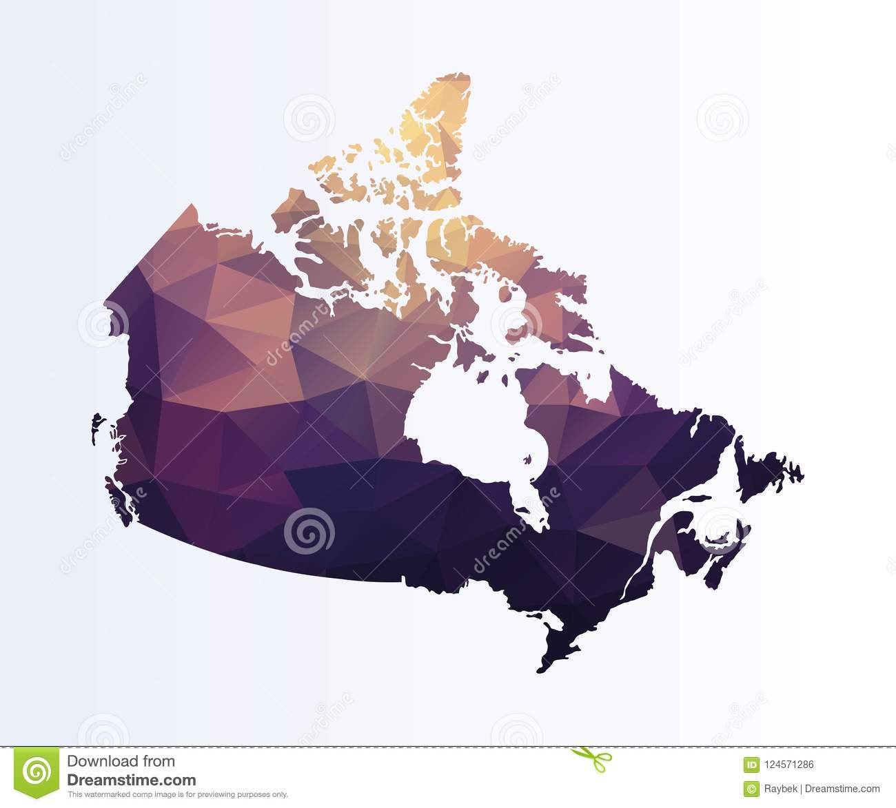 Colored Map Of Canada.Polygonal Map Of Canada Stock Illustration Illustration Of Isolated