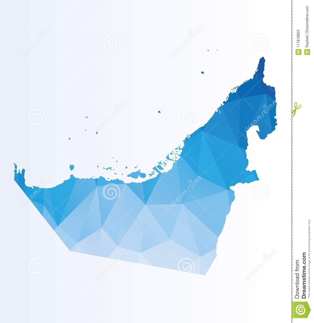 Polygonal map of UAE stock illustration. Illustration of triangle ...