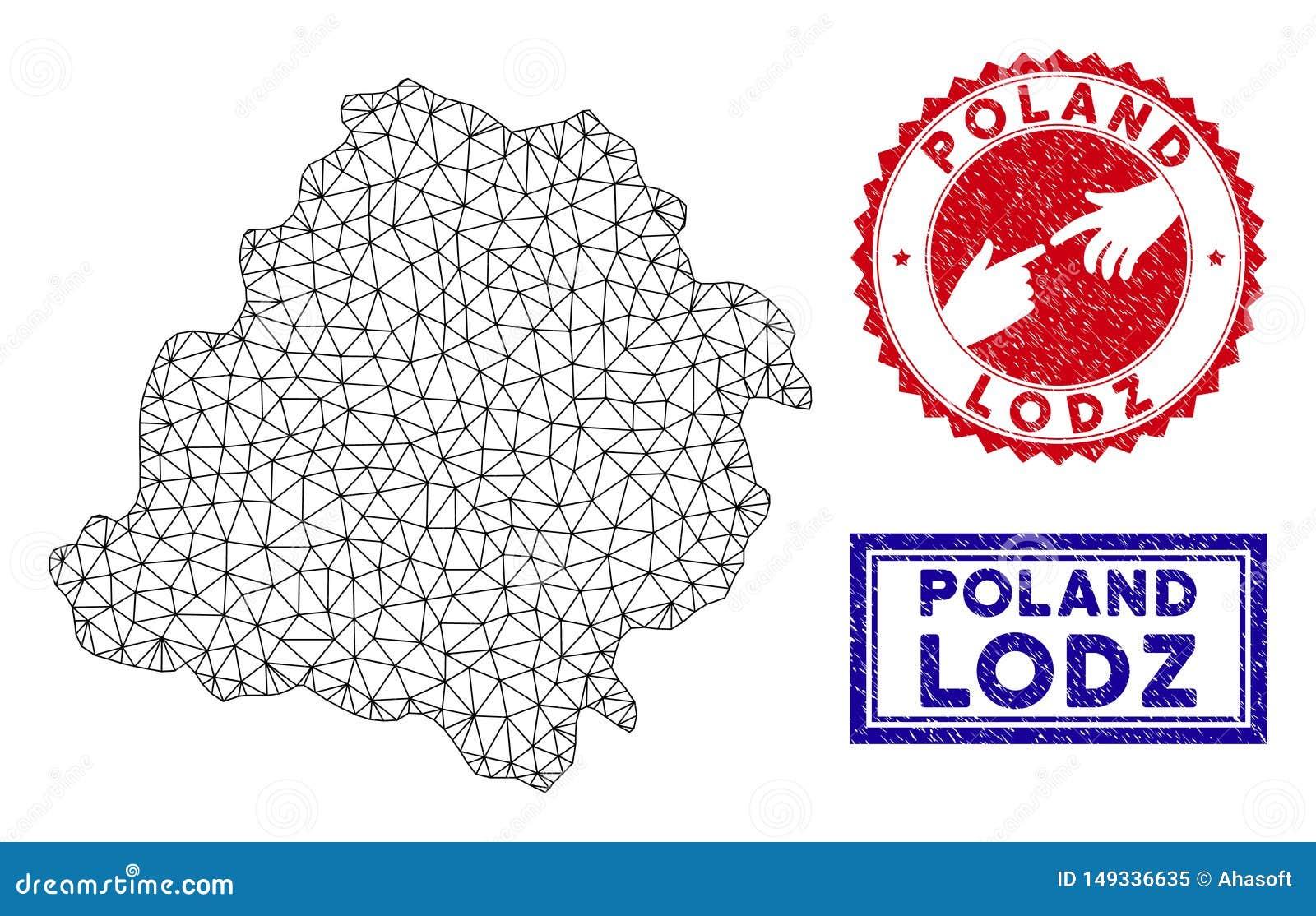 Polygonal Mesh Lodz Voivodeship Map and Grunge Stamps