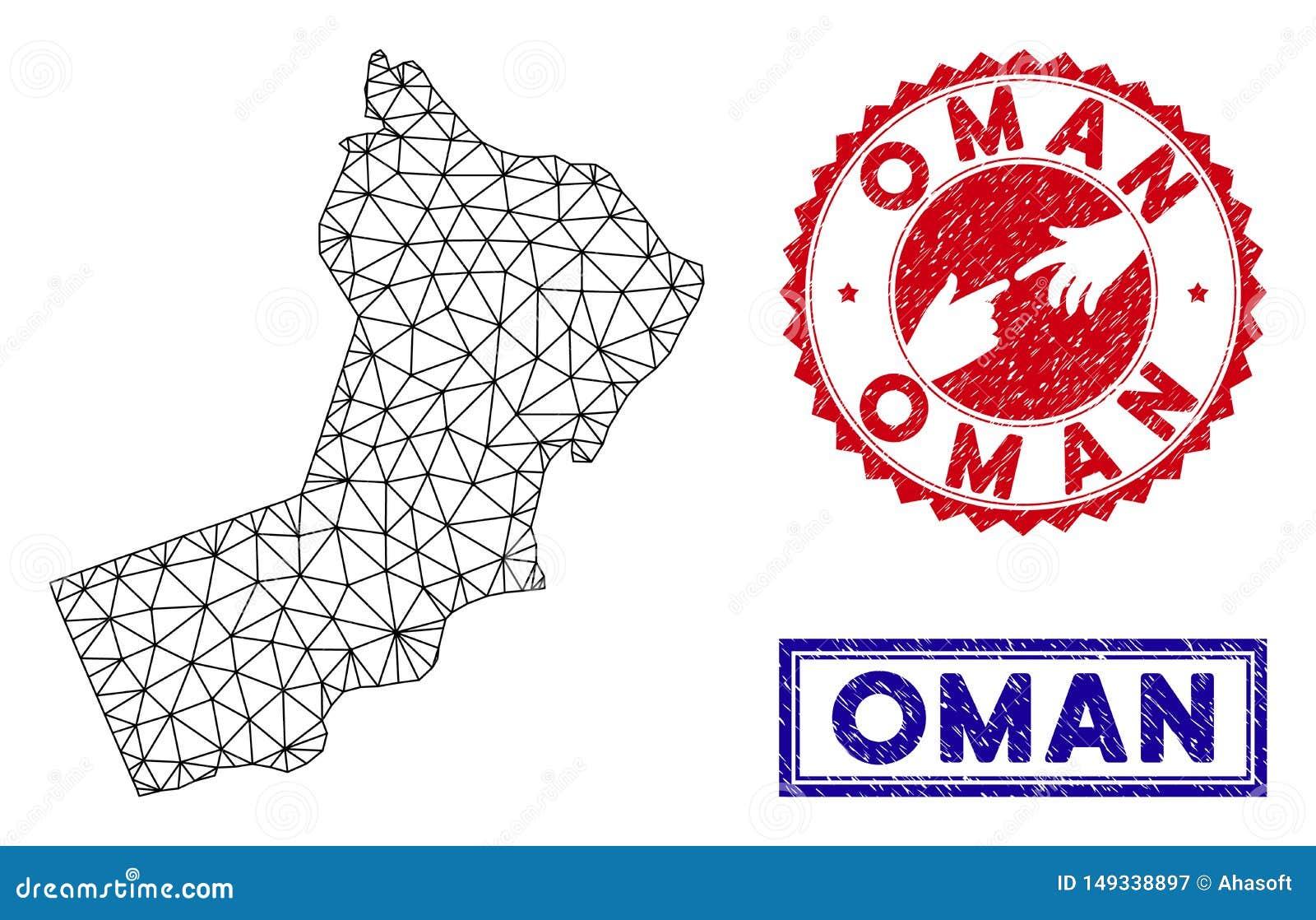 Polygonal Mesh Oman Map and Grunge Stamps