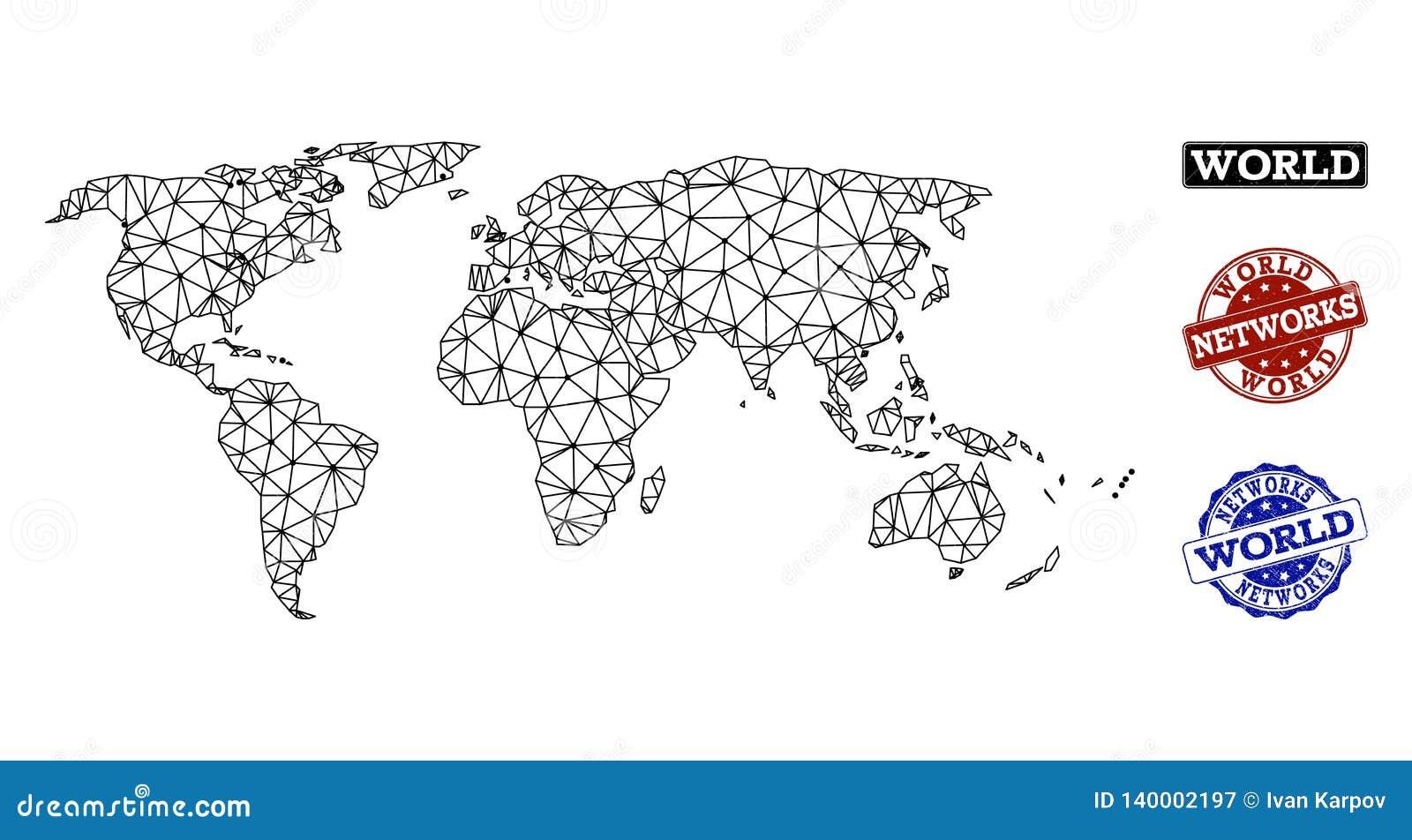 Polygonal nätverk Mesh Vector Map av världs- och nätverksGrungestämplar