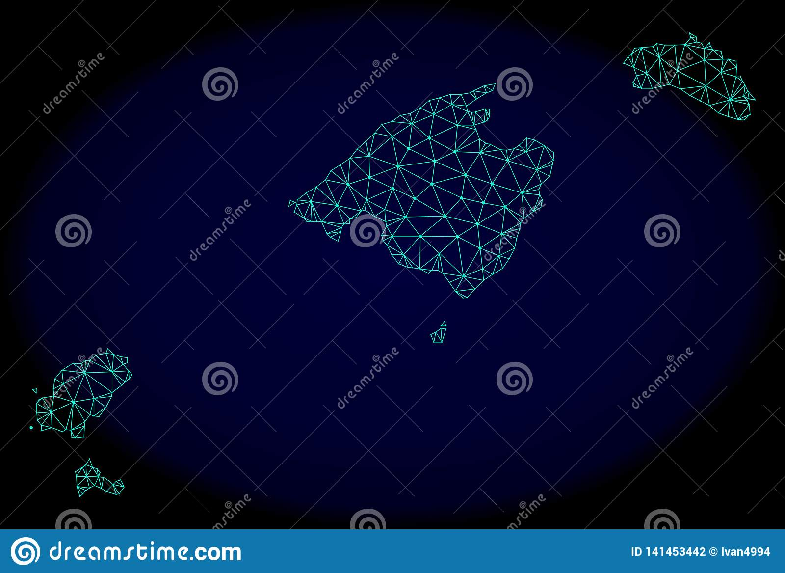 Polygonal Network Mesh Vector Abstract Map of Balearic Islands