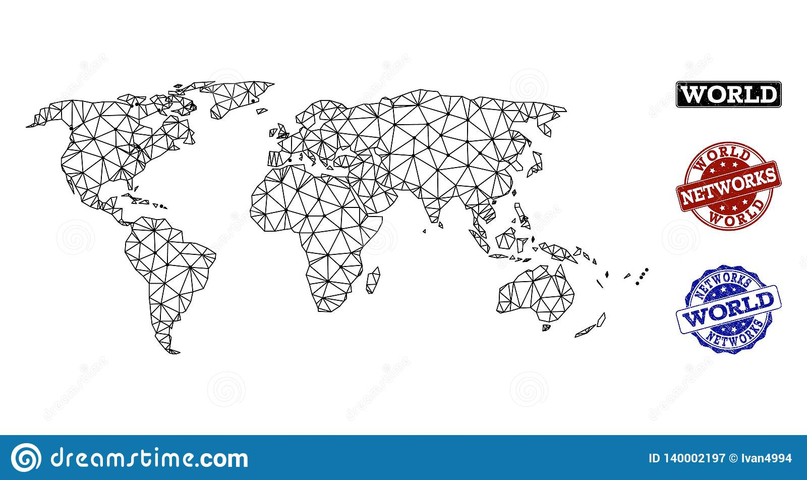Polygonal Network Mesh Vector Map of World and Network Grunge Stamps
