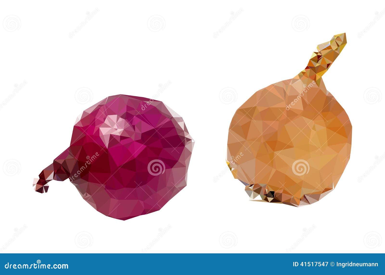 Red Onion Illustration Polygonal Onion Illustration