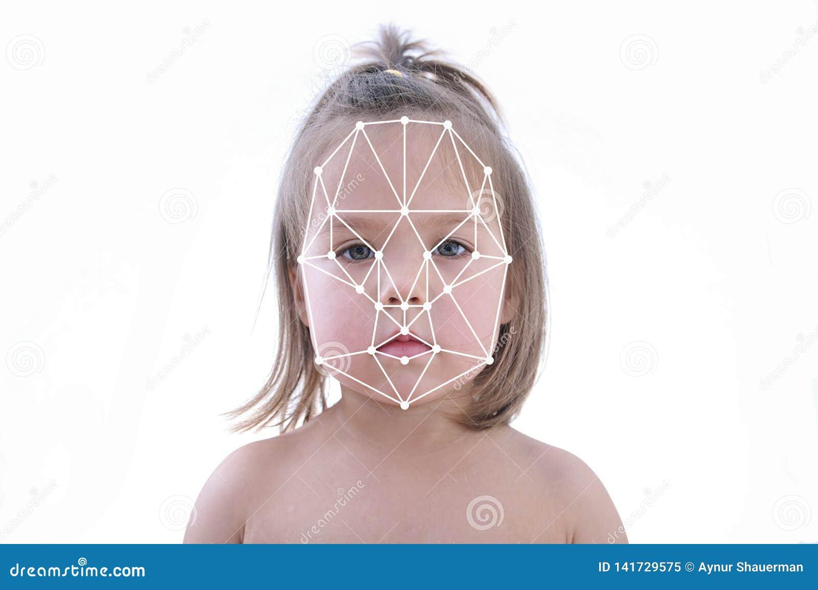 Polygonal raster av erkännande för barnframsidalegitimation, biometric säkerhet