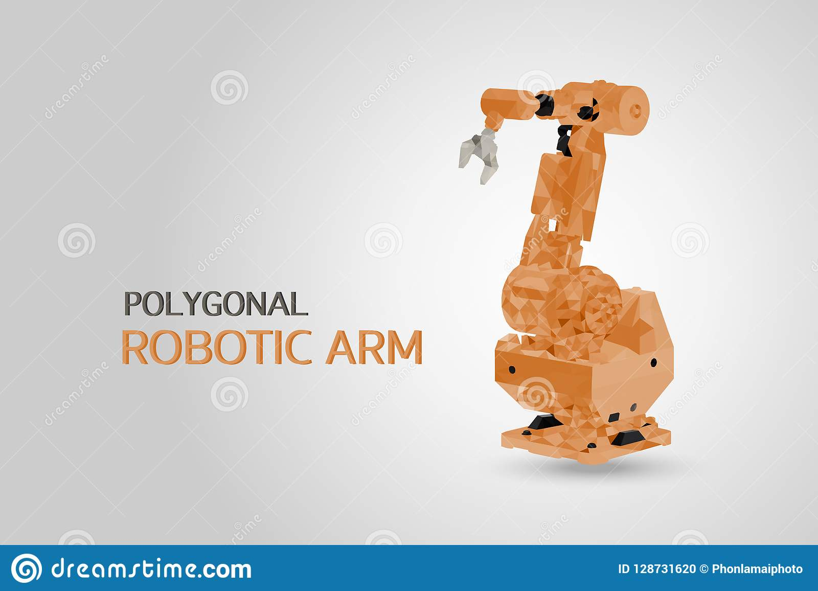 Polygonal robotic arm stock vector  Illustration of industry