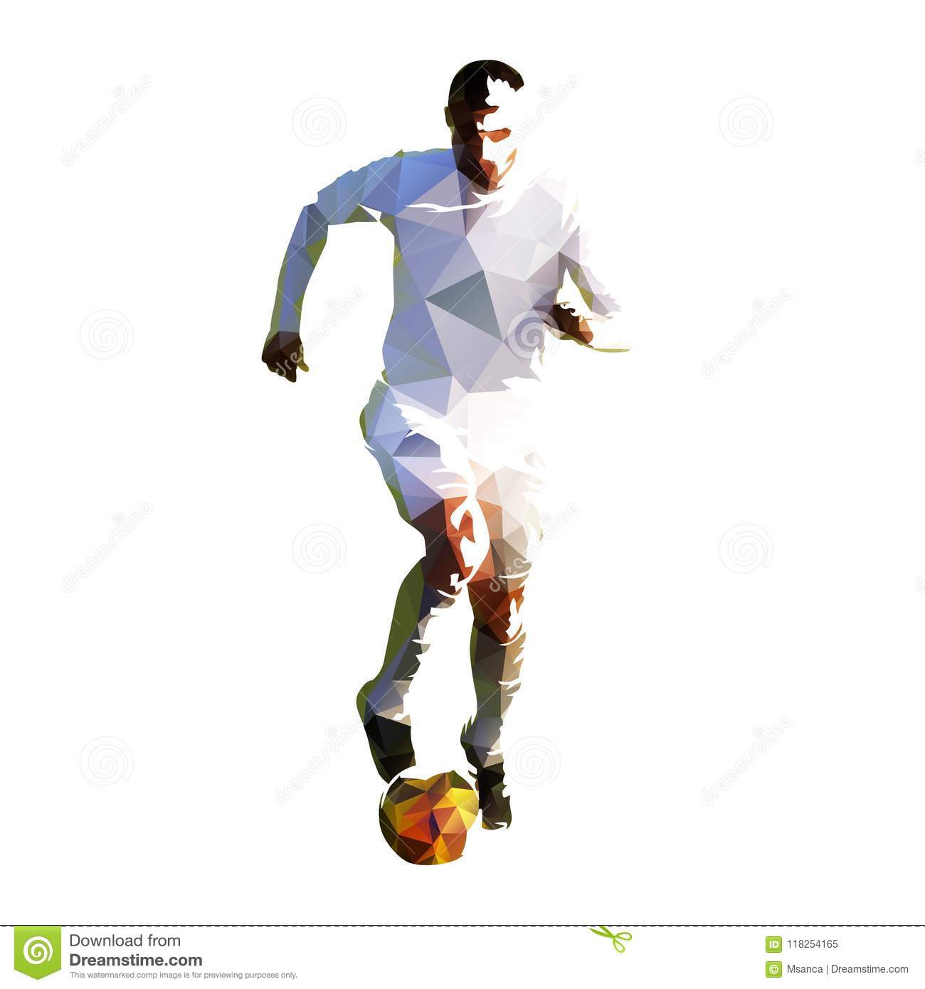 3a7801f70 Polygonal Soccer Player In White Jersey Running With Ball Stock ...