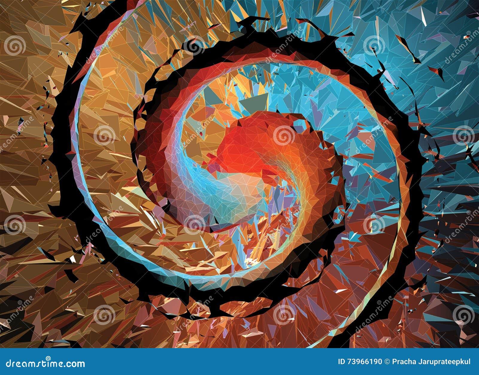 Polygonal spiralabstrakt begreppbakgrund med vit wireframe