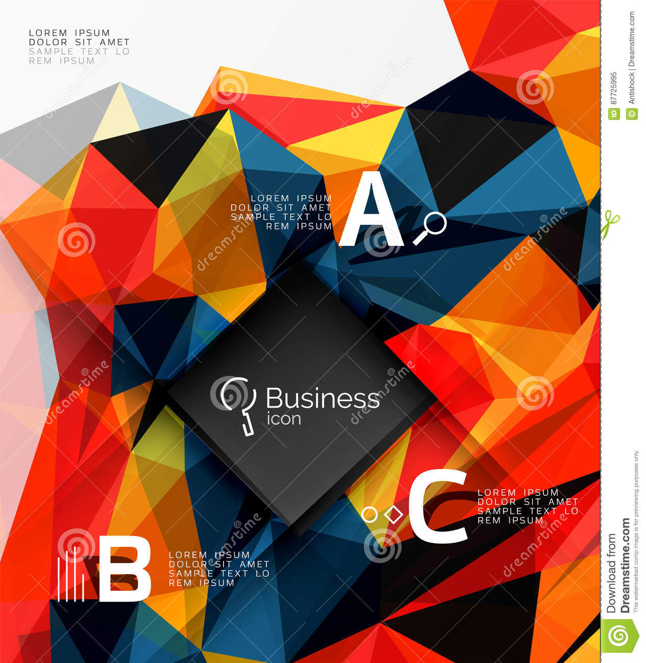 polygonal triangle abstract background with infographics stock