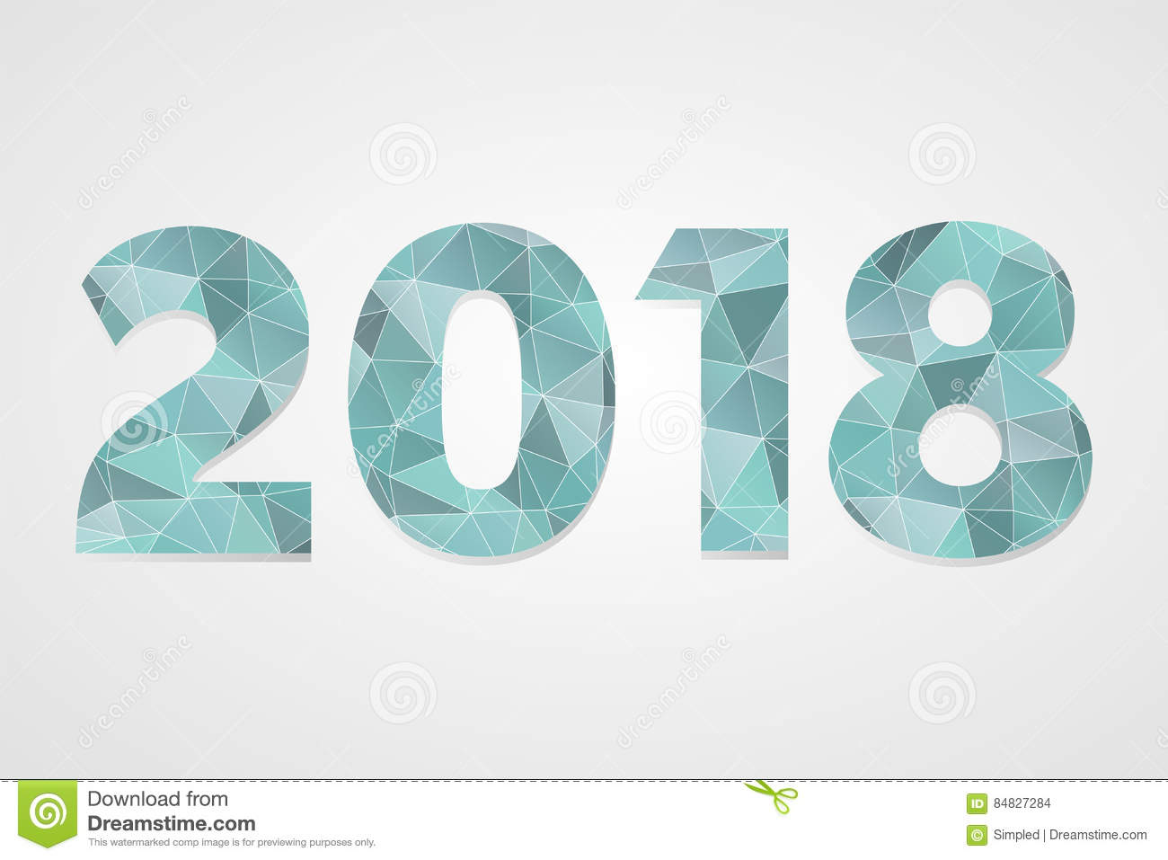 2018 polygonal vector symbol. Happy New Year illustration. Isolated blue infographic logo on grey gradient background