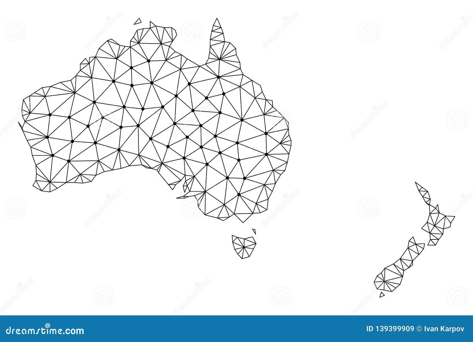 Map Of Australia New Zealand.Polygonal Wire Frame Mesh Vector Map Of Australia And New Zealand