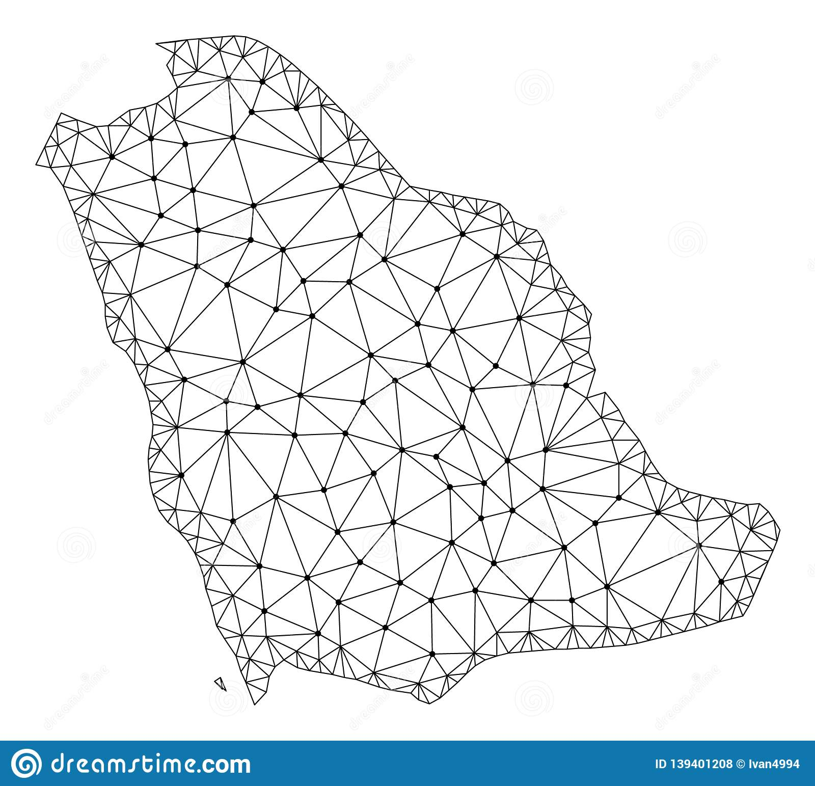 Polygonal Wire Frame Mesh Vector Map Of Saudi Arabia Stock