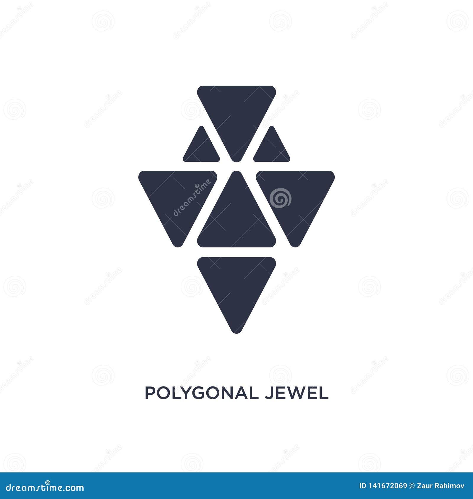 Polygonale Juwelikone auf weißem Hintergrund Einfache Elementillustration vom Geometriekonzept