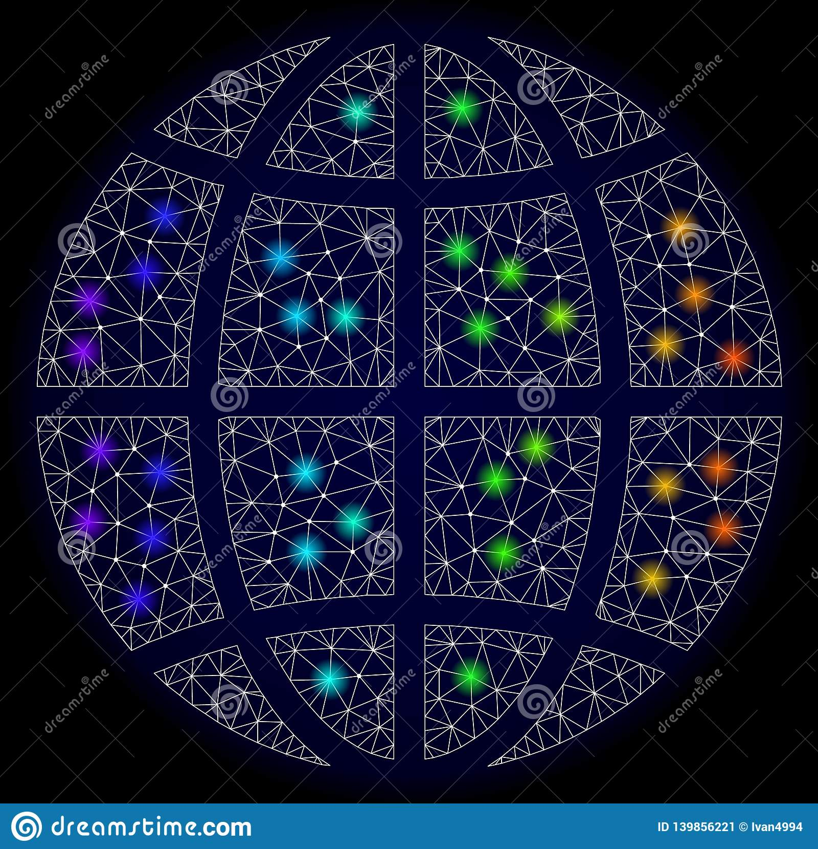 Polygonale Karkasse Mesh Map der Planeten-Kugel mit hellen hellen Stellen