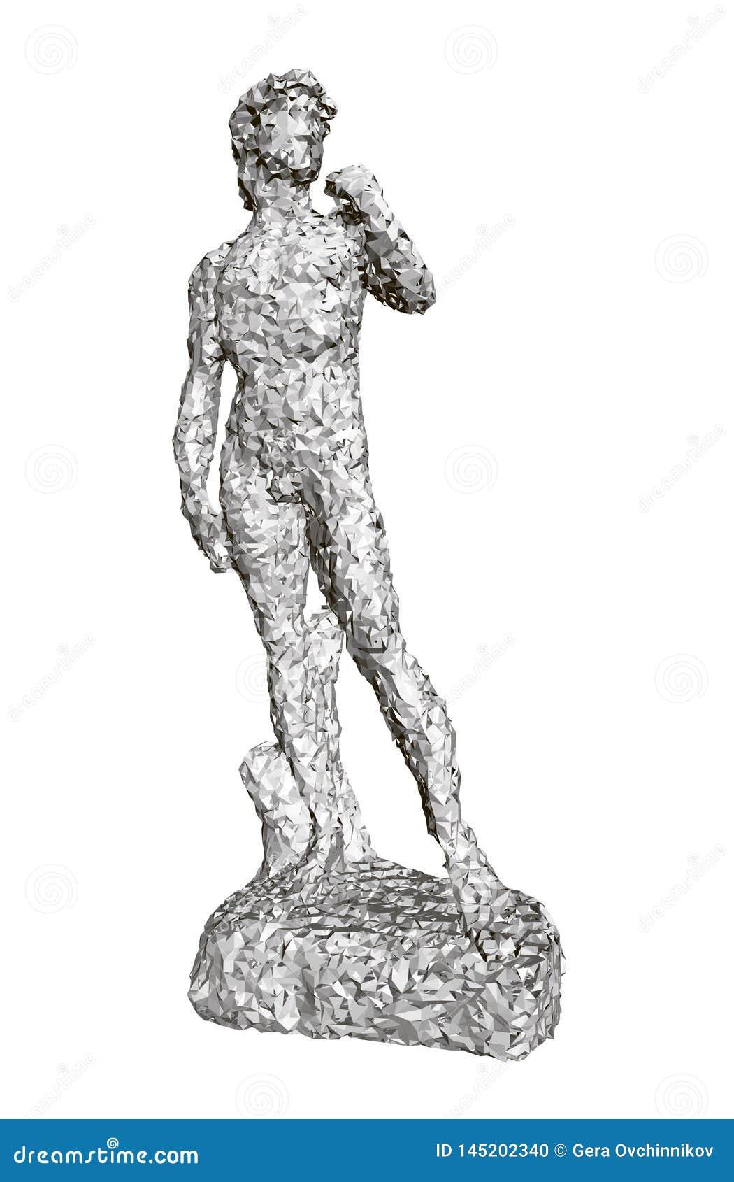 Polygonale Statue von David Front View 3d