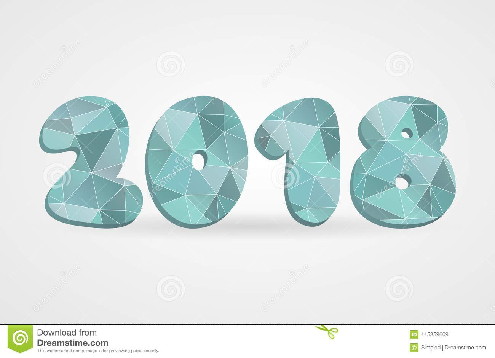 Polygonales Symbol Des Vektors 2018 Abstrakte Dreieckillustration ...