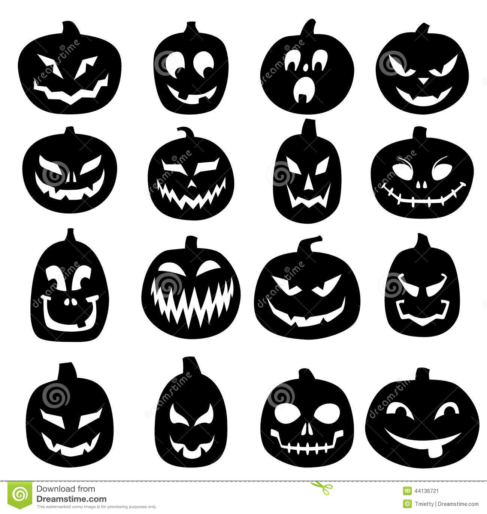 Jack o lantern carved pumpkin icons stock vector image