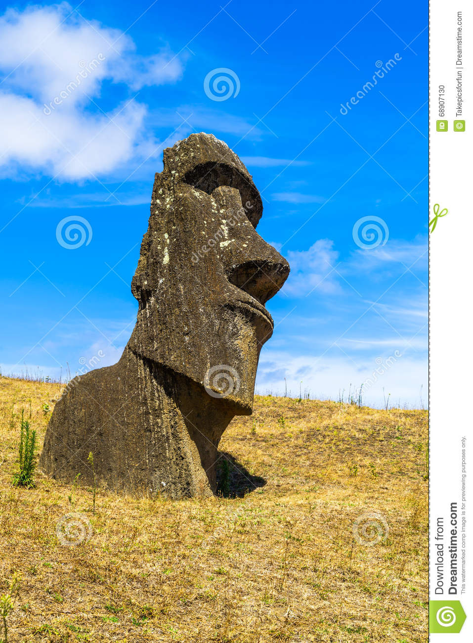 Polynesian stone carving at rano raraku quarry stock photo image