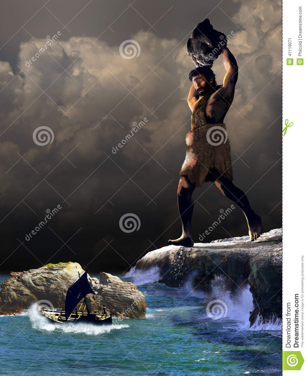 Taken from The Odyssey, scene representing the giant cyclops ...