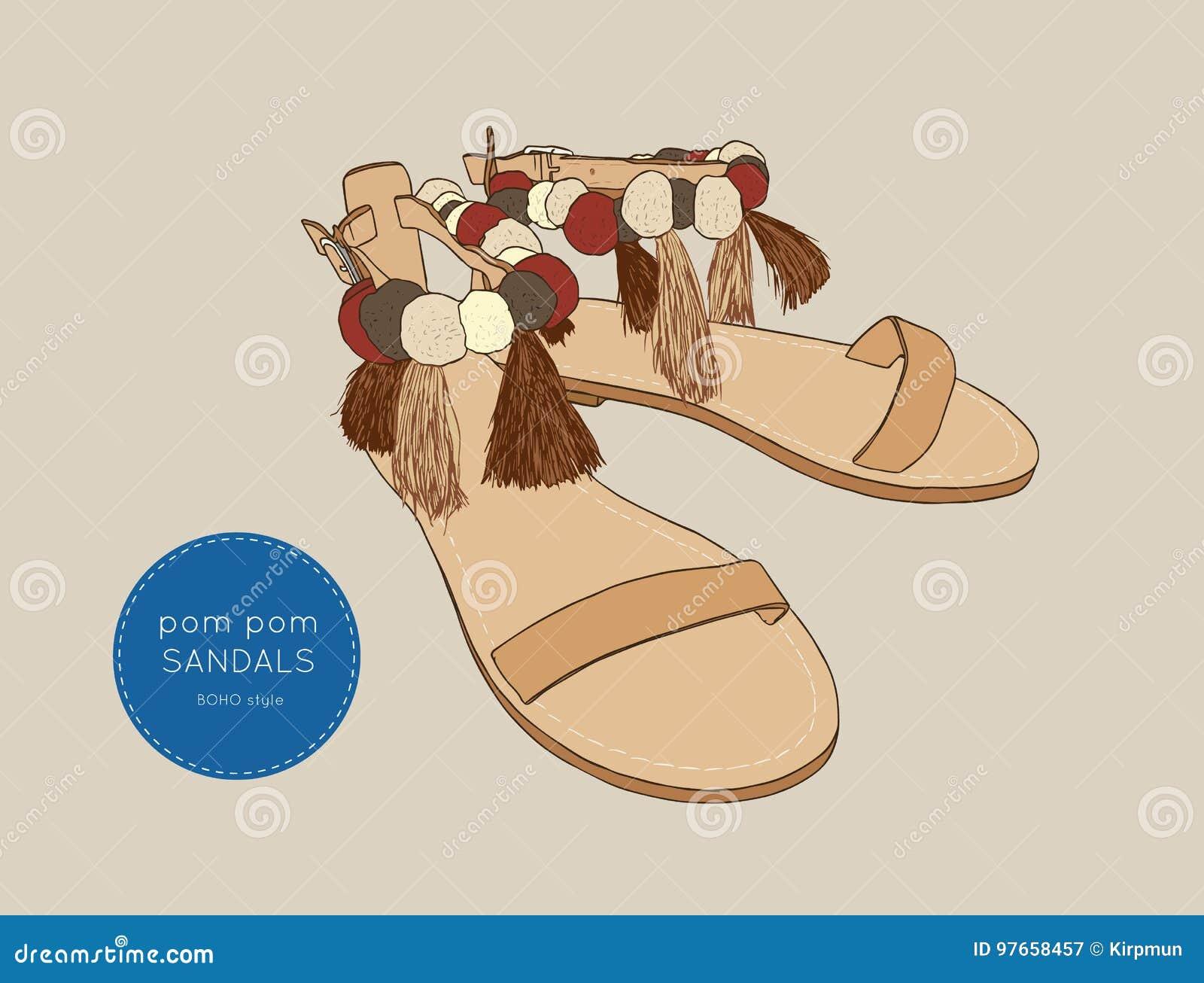 e781c9aa1472 Pom Pom Sandals Bohemian Fashion Style Vector. Stock Vector ...