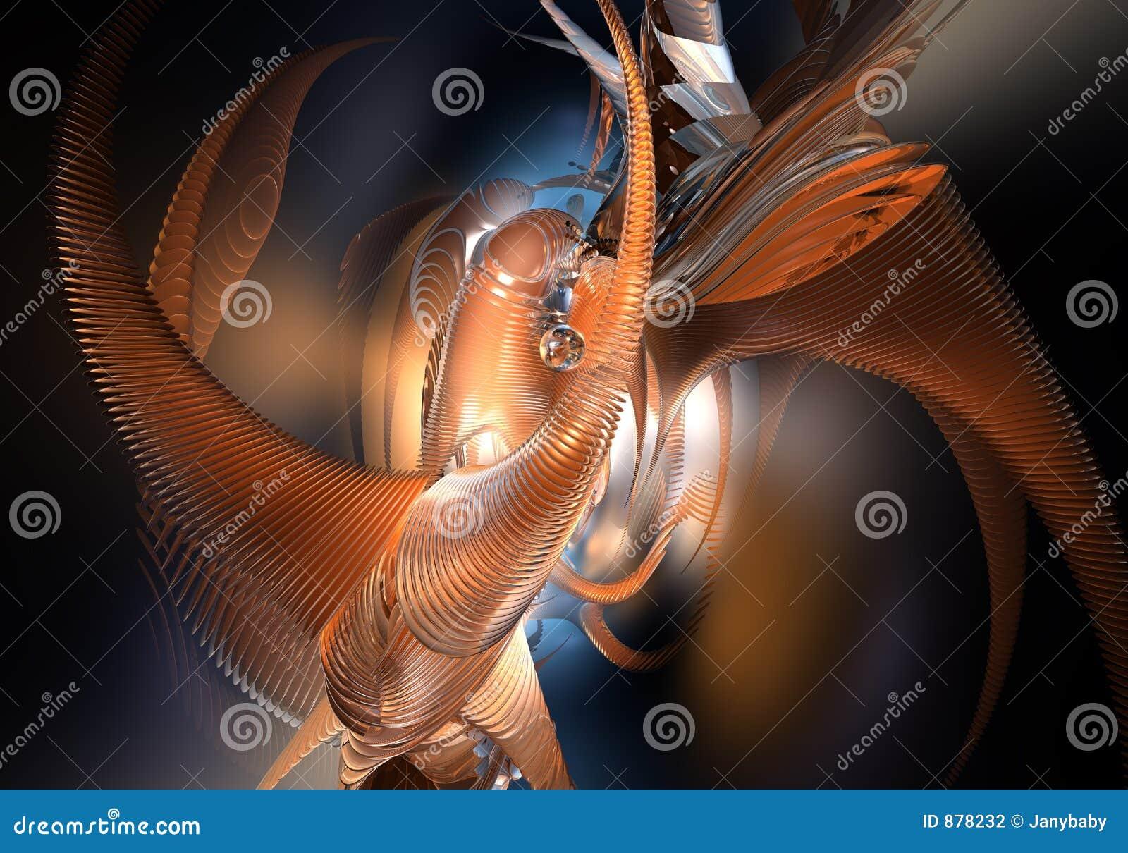 Pomarańcze abstrakcyjne przestrzeni styl