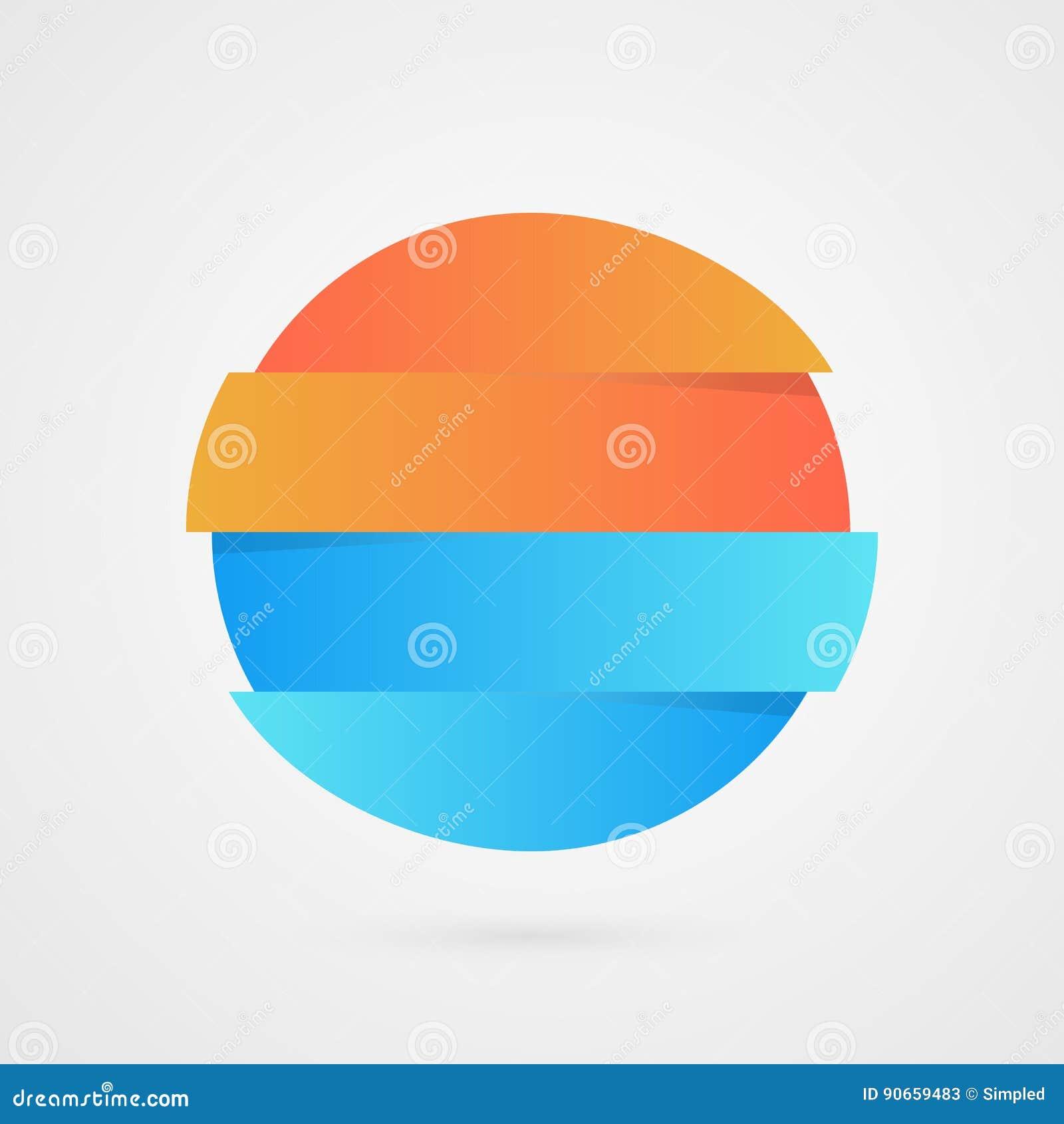 Pomarańcze i błękitna okrąg próbka Wektorowy infographics Marketingowa próbki ikona Biznesowa logo ilustracja odizolowywająca