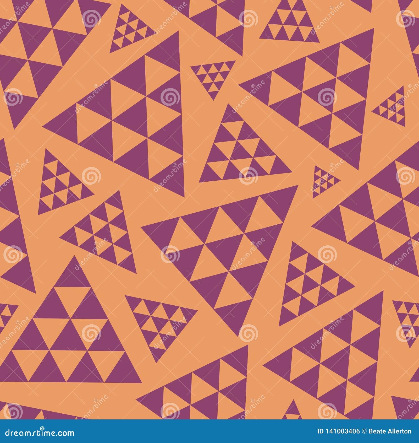 Pomarańcze i purpurowy przypadkowy trójbok powtórki wektoru wzór Nowożytny skoczny boho klimaty Wielki dla joga, piękno produkty,