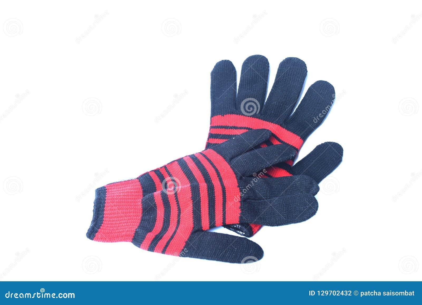 Pomarańczowa rękawiczka umieszczająca na białym tle